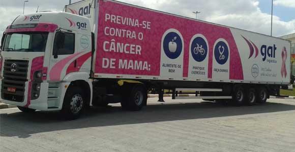 Carreta da GAT Logística sobre o câncer de mama
